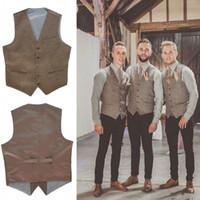 Wholesale Mens Brown V Neck Vest - 2017 New V Neck brown Mens Wedding Vests Outerwear Groomsman Vest Realtree Spring Camouflage Slim Fit Mens Wedding Party Dinner Vests