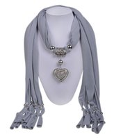 Wholesale Heart Shaped Pendant Scarf - Heart-shaped Necklace Tassels Lady Scarves Fashionable Woman Peacock Pendant Scarf Jewelry Charms Plain Alloy