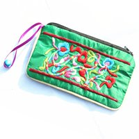 Wholesale Ladies Coin Purses Cloth - Cute Small Bell Zip Embroidered Pouch Jewelry Gift Bags Chinese Packing Bag Ladies ID Credit Card Holder Satin Cloth Craft Coin Bag Purse