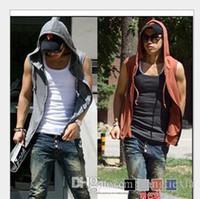 Wholesale T Shirt Vest Zipper - High Quality Casual Hoodies Men Sleeveless Beach Sport T Shirt Vest Mens Hoodies Jacket Hip Hop Sweatshirts Free Shipping