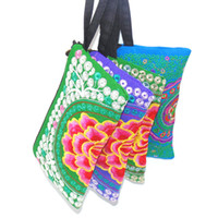 Wholesale Wristlet Cartoons - Wristlet Bag Vintage Hmong Thai Indian Embroidered Wallet Fashionable Clutch Purse, Boho Hippie Ethnic Cosmetic Bag