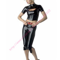 Wholesale Tight Sexy Latex - Wholesale-Fashion women 2016 Black sexy latex catsuit for women( tight short T-shirt and pants) plus size Hot sale