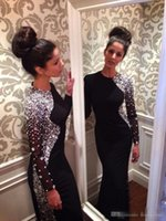 Wholesale Jersey Formal Gowns - Black Jersey New Sexy Long Sleeves Mermaid Evening Dresses 2017 Beaded Crystals Floor Length Formal Party Dress Celebrity Prom Gowns