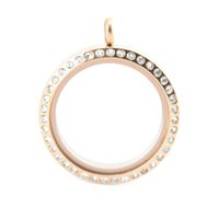 Wholesale Rose Gold Floating Locket Wholesale - 30mm round screw 10pcs crystal rose gold stainless steel Memory living glass locket , glass locket floating charms for floating charms