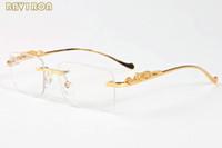 gafas de diseño para hombre al por mayor-con caja 2019 moda para hombre gafas de sol de diseñador para hombres gafas de cuerno de búfalo vintage marco de leopardo de plata dorada sin montura de las mujeres