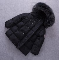 Wholesale Girls Down Jacket Fur - Kids Down Coats Parkas Boys Girls Cotton Thicken Warm Hooded Jackets 2017 Winter Infant Big Fur Hats Coat Outwear Children Clothing B966