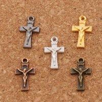 Wholesale Charm Gun Bronze - 5colors Crucifix Cross Charm Beads 500pcs lot Antique Silver Gold Bronze Copper Gun Black Pendants Jewelry DIY L431