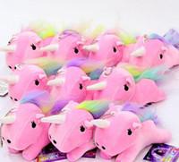Wholesale Soft Animal Keyrings - Cute Unicorn Plush Pendant Toys Kids Soft Stuffed Animal Dolls with Key Chain Kids Toys Gifts rainbow Unicorn Pendant keyring