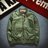 Wholesale Military Style Jacket Men Green - men thin Jacket Puffer Style Thick Army Green Military Flying Ma-1 Flight Jacket Pilot Ma1 Air Force Men Bomber Jacket