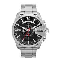 Wholesale Dz Watch Box - Free Shipping DZ4308 Men's Quartz World Watch Mega Chief Black Dial Silver Steel Band Water Resistant Original Box DZ 4308