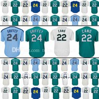Wholesale Retro Shorts Men - Men's 22 Robinson Cano 24 Ken Baseball Jersey Robinson Cano Retro Ken Jerseys Embroidery 100% Stitched
