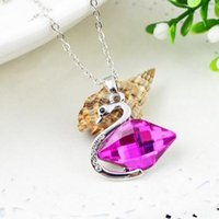 Wholesale Crystal Swan Prices - Protecting color gold plating high quality Austria crystal element swan pendent short necklace wholesale price