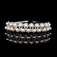 Wholesale Low Priced Artificial Flowers - Two Row Clear Crystal Garland Wedding Bridal Headband Handmade Bridal Hat Special Occasion Hair Accessory Headwear Low Price High Quality