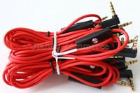 aux ses kablosu mikrofonu toptan satış-Yeni 3.5mm Kontrol Konuşma ile Stüdyo Heaphones için Kırmızı Kablolar ve MIC L Fiş Uzatma Ses AUX Kablosu SOLO
