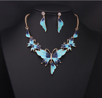 Wholesale Chandelier Necklaces Wholesale - Chic jewelry set alloy resin butterly necklace earrings sets fo party and wedding