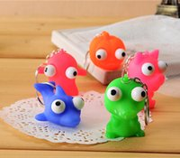 Wholesale Pop Eyes Animal Toy - Wholesale-Cute Animal Small Squeeze Toy Pop Out Eyes Doll Novelty Stress Relief Venting Keychain Joking Decompression Toys Key Chain Ring