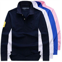 Wholesale Business Polo Shirt - Men's Classic POLO Hombre long sleeve Shirt Male business casual Big Horse Embroidery Collar autumn spring solid shirts Masculina M-4XL
