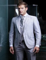 Wholesale Shiny Suits Sale - Wholesale-Shiny silver grey tuxedos 2016 Hot Sale One Button Tuxedos Wedding Groomsman Suit Bridal Groom Best Mens Suits 3 Pieces