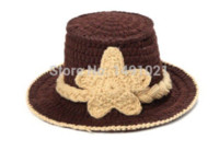 Wholesale Handmade Baby Cowboy Hat - Hot Selling 0-12 months Crochet Baby Cowboy Hat in Brown Newborn Boy Photo Props Handmade Knitted Baby Hat SY41