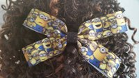 Wholesale Minions Ribbon - lovely Minion Mania cartoon ribbon girls hair bows birthday Christmas New Year party school gifts