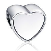 Wholesale silver photo charms for sale - Group buy Alloy Customized blank heart photo bead Metal Slider Big Hole European Charms Fit Pandora Chamilia Biagi Bracelet