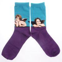 Wholesale Cute Oil Paintings - Wholesale-Print Cupid Retro Art Oil Painting Style Men Socken Cute Angel Socks Purple&Blue Colors Socks King003