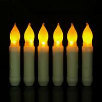 longues bougies achat en gros de-LED Bougie Électronique De Mode Veilleuse À Long Pôle Sans Flamand Sans Fumée Jaune Lumière Bougies À Piles Décor À La Maison 2 56qy F R