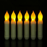 Wholesale Led Color Changing Candle Battery - LED Electronic Candle Fashion Nightlight Long Pole Flameless Smokeless Yellow Light Candles Battery Operated Home Decor 2 56qy F R