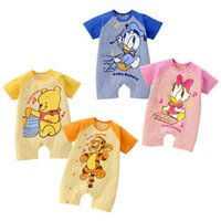 Wholesale Baby Tigger - Newborn Summer Romper 2016 New Baby Boys Girls Zebra Tigger Deer Short Sleeve Romper Babygrows Outfits Shorts Romper