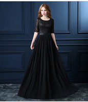 Wholesale Sleeved Chiffon Prom Dresses - Robe De Soiree Black Lace Long Evening Dresses 2016 New Bridal Banquet Elegant Half Sleeved Chiffon Prom dresses Plus Size Custom