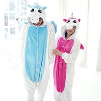 Wholesale Conjoined Cartoon Pajamas - Flannel unicorn conjoined animal cartoon fall and winter long sleeve coral fleece pajamas female male household to couple the toilet