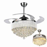 moderne deckenventilator led-beleuchtung großhandel-42/36 Zoll Deckenventilatoren Licht unsichtbare Lamellen Deckenventilatoren Moderne Ventilator Lampe Wohnzimmer Schlafzimmer Kronleuchter Pendelleuchte + Fernbedienung