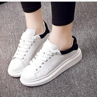 Wholesale Thick Sole Casual Black Shoes - white shoe Female genuine leather thick soles 2016 new spring summer casual lace-up plate shoes white sneakers