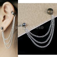 Wholesale Goth Cuff Earrings - Wholesale-2016 New Fashion Pensonality Metal Leaf Women Girls Alloy Tassels Chains Earring Cuffs Ear Clip Stud Jewelry Piercing Goth Punk