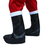 Wholesale Leather Santa Claus Boots - Unisex Christmas Santa Claus Boots Top Cover Christmas Decorations Black Leather Santa Claus Boot Covers Cosplay Costume
