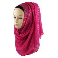 Wholesale Mixed Scarves For Women - Spring Winter scarf fashion long gold stone scarves cotton abaya niqab hijab for women 180x70cm 24 colors 21#-24#-Mix color
