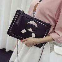 Wholesale Horsehair Handbags - 2016 Korea cute bearded horsehair holding envelope bag rivets multifunctional handbag shoulder chain