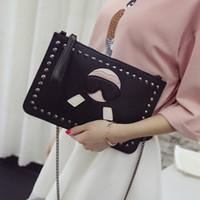 Wholesale multifunctional shoulder bag resale online - Cute bearded horsehair holding envelope bag rivets multifunctional handbag shoulder chain