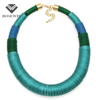 Wholesale Necklace Collar Fashion Design - New Design Fashion Handmade Simple Yarn Necklace Chunky Chokers Wide Collar Statement Necklaces Big Jewelry CE4113