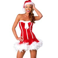 Wholesale Short Skirt Santa - Super Quality Sexy Santa Claus Costume Red Exotic Dress Women Off the Shoulder Cap New Fashion Short Skirt Christmas Party W344023