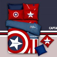 Wholesale Branded Bedding Sets - Brand New Captain America Red 3 4pcs Bedding Set 100% Cotton King Queen Twin Kids Cartoon Duvet Copver Set Bedset Free Shipping
