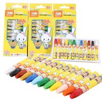 Wholesale Crayon Chalk - PrettyBaby 12 Colors Cute Kids Oil Pastels Artistic Oil Painting Stick Soft Crayon Set Drawing Art Square Chalk Painting Supplies