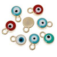"Wholesale Pcs Evil Eye - Wholesale-Charm Pendants Round Gold Plated Evil Eye Enamel At Random 10mm( 3 8"") x 7mm( 2 8""),10 PCs 2015 new"