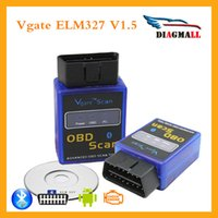 Wholesale Code Vgate Bluetooth - MINI ELM 327 Bluetooth Vgate Scan OBD2   OBDII ELM327 V1.5 Bluetooth Diagnosytic Code Scanner tool For Free Shipping