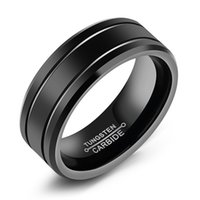 Wholesale Tungsten Gold Fade - ZHF JEWELRY Classic Black Tungsten Rings Fashion Vintage Jewelry For Man Engagement Wedding Size 8-12 Stainless Steel Jewelry NO FADE WJ246