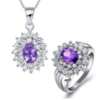 Wholesale Natural Ruby Gold Ring 18k - Flammable volcano 925 Silver Natural Amethyst Necklace Pendant ring set female Korean fashion jewelry