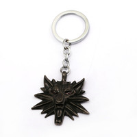 Wholesale wholesale wolf keychain - The Witcher 3 Wild Hunt Keychain Key Ring The Wild Hunt 3 Figure Game Wolf Head Key Chains For Women Men Jewelry