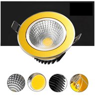 Wholesale Spot Recessed Dimmable - Golden Shell LED Downlight 9W 12W 15W Spot LED DownLights Dimmable cob LED Spot Recessed down lights for living room 110v 220v