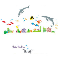 Wholesale Fish Wall Stickers Kids - Lowest Price Dolphin Fish Sea Wall Sticker DIY Removable Kids Bedroom Bathroom Art Decor Gift Hot Sale