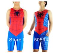 mavi catsuit toptan satış-Ücretsiz Kargo Toptan Yetişkin erkek Örümcek Adam Güreş Atlet, KırmızıMavi Catsuit, Lycra Spandex Süper Kahraman Kostüm SPH136
